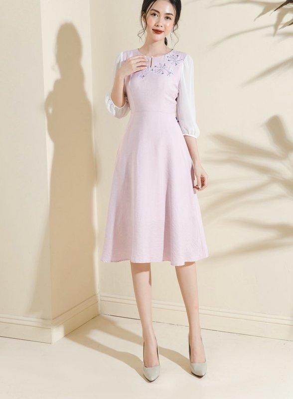 đầm basic decham trắng hồng xl 2.jpg